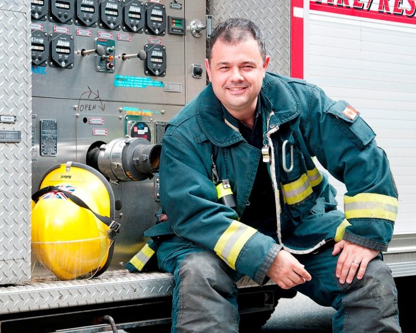 Firefighter Mark Baker in full gear