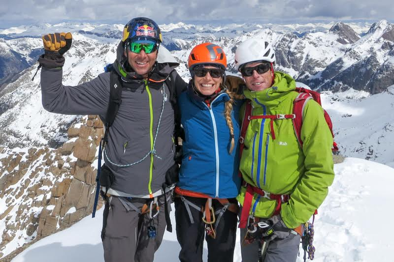 Chris Davenport, Christy Mahon and Ted Mahon on Jagged Mountain, Colorado. (c) CentennialSkiers.com